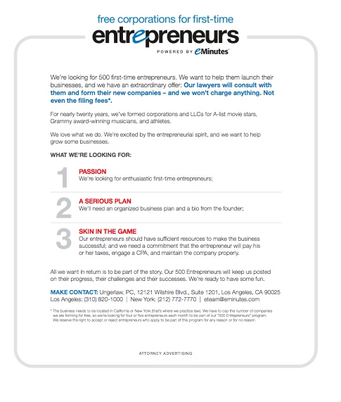 Post image for Free Corporations for First-Time Entrepreneurs