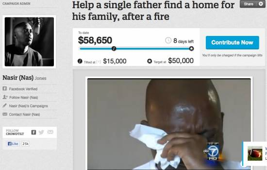 Post image for Nas Helps Raise Over $50,000 for an Unemployed Father of 8